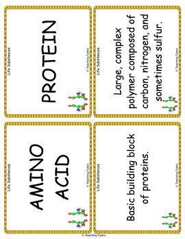 Life Substances Vocabulary Cards