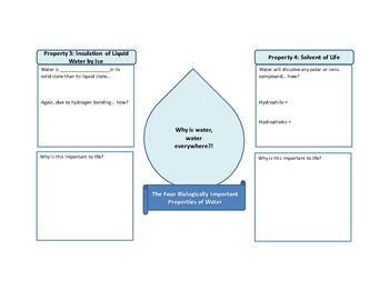 Life Sustaining Properties of Water Graphic Organizer
