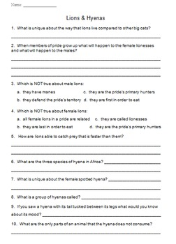"""""""Life"""" (The Discovery Series) Mammals Worksheets"""
