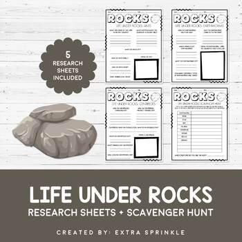 Life Under Rocks Research Sheets & Scavenger Hunt