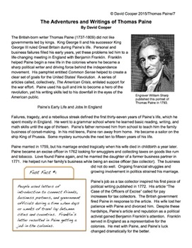 Life and Works of Thomas Paine: Text, Reading Strategy, and Two DBQ Activities