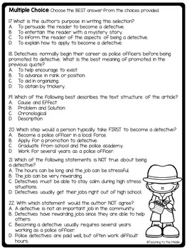 Life as a Detective Informational Text, Mysteries, Community, Careers