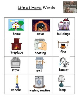 Life at Home Vocabulary Word List