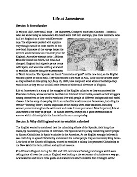 Life at Jamestown Reading and Comprehension Guide