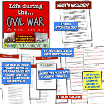 Life during the Civil War: Primary & Secondary Source Activity! Common Core!