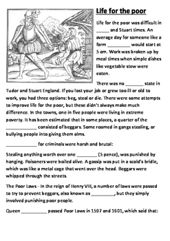 Life for the Tudor and Stuart Poor Cloze Activity