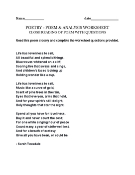 Life has Loveliness to Sell - Poem & Project/assignment Sara Teasdale worksheet