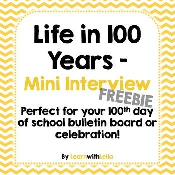Life in 100 Years Mini Interview FREEBIE