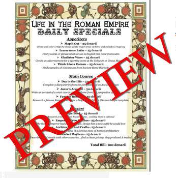 Life in Ancient Rome Project Menu w/ Rubric - Editable