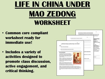 Life in China Under Mao Zedong - Global/World History Common Core