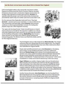 Life in Colonial New England (24) - poem, worksheets, puzzle