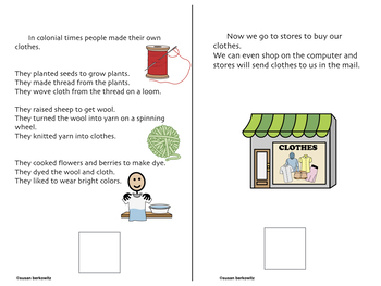 Life in Colonial Times adapted informational text for differentiation