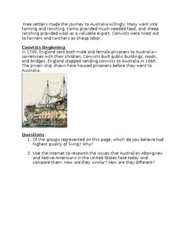 Life in Early Australia - Worksheet