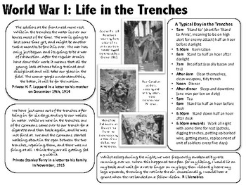 Life in The Trenches - World War 1 Primary Source Reading & Worksheet