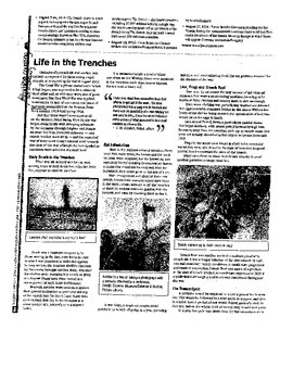 Life in Trenches worksheet