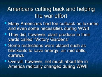 Life in US during WWII