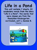 ReadyGen Life in a Pond Vocabulary / Kindergarten, Unit 1,