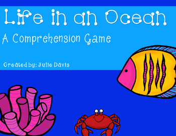 Life in an Ocean Comprehension Game Kindergarten