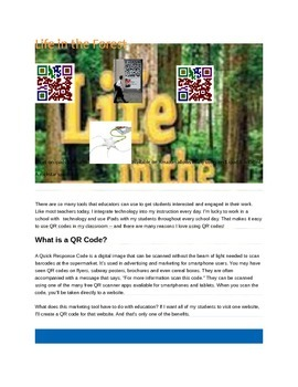 Life in the Forest Concepts with Q.R. codes