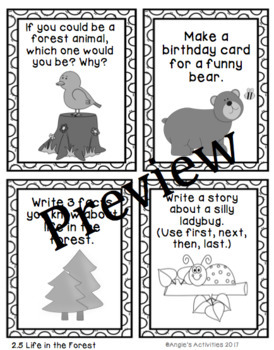 Life in the Forest Writing Prompt Cards (Reading Street 1.2.5)