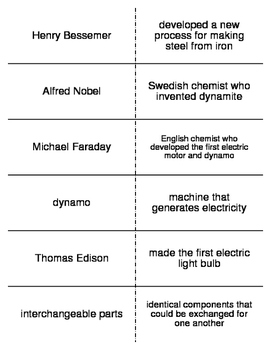 Life in the Industrial Age Vocabulary Flash Cards for Worl