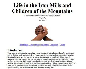 Life in the Iron Mills WEBQUEST - Technology, Group Work, Project-Based Learning