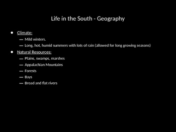 Life in the North and the South Powerpoint