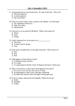 Life is Beautiful (1997) - 50 Question Multiple Choice Quiz / Final Assessment