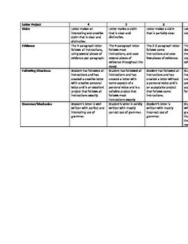 Life is Beautiful Writing Assessment - Rubric Included