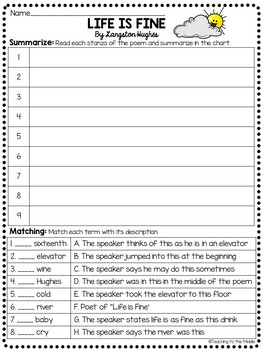Life is Fine by Langston Hughes Reading Comprehension Worksheet, Poetry