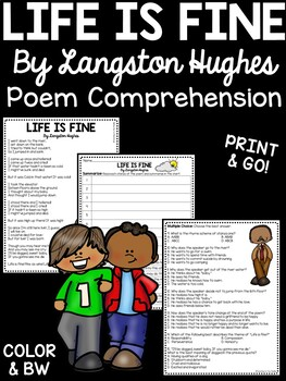 Life is Fine by Langston Hughes Reading Comprehension Work