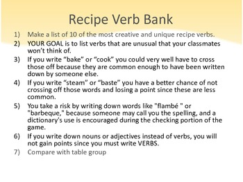 Life is a Cookbook : Verbs in Recipes & Creative Writing