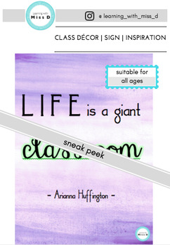 Life is a giant classroom - watercolour|sign| décor|bunting