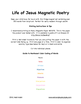 Life of Jesus Magnetic Poetry