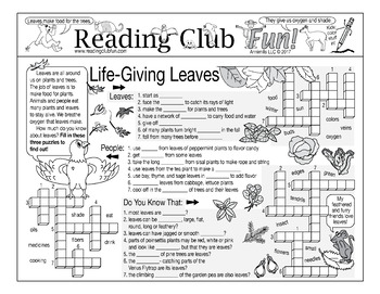 Life-Giving Leaves Puzzle Packet