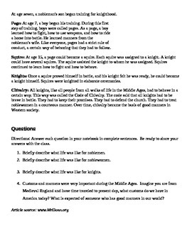 Life of Nobility during Middle Ages Reading & Worksheet