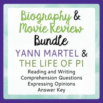 Life of Pi BUNDLE Yann Martel Biography, Life of Pi Movie Activities