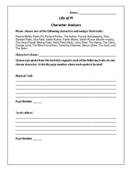 Life of Pi - Character Analysis Activity - Yann Martel