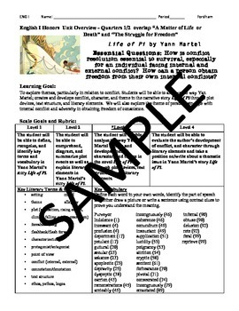 Life of Pi-Common Core Aligned Scales-Complete Novel Unit