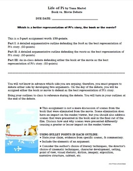 Life of Pi Movie vs Book 3-Part Assignment