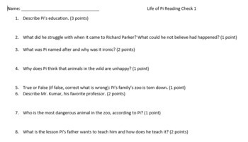 Life of Pi Reading Schedule and Quizzes