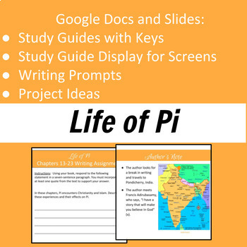 Life of Pi Study Guides, Writing Prompts, and Projects