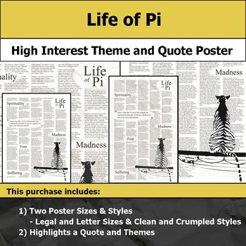 Life of Pi - Visual Theme and Quote Poster for Bulletin Boards