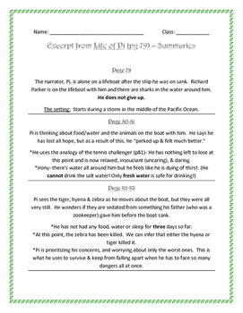 Life of Pi page summaries