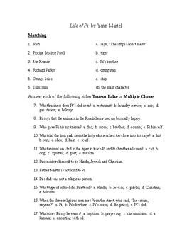Life of Pie Reading Check Test/Quiz