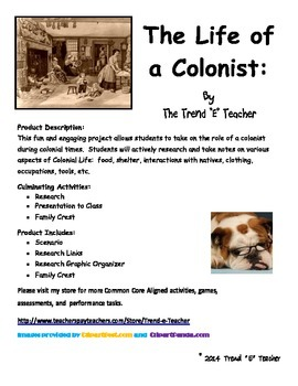 Life of a Colonist:  Project Based Learning