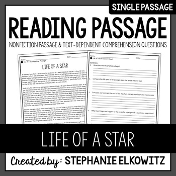 Life of a Star Reading Passage