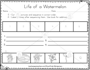Life of a Watermelon Emergent Reader, Vocabulary and Sequencing Sheets