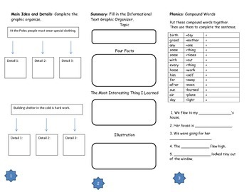 Life on the Ice Comprehension Trifold: Journeys Grade 3; Lesson 20