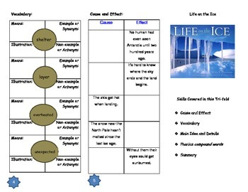 Life on the Ice Comprehension Trifold: Journeys Grade 3; L